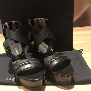 Belstaff Zipper Wedge Sandal in Black